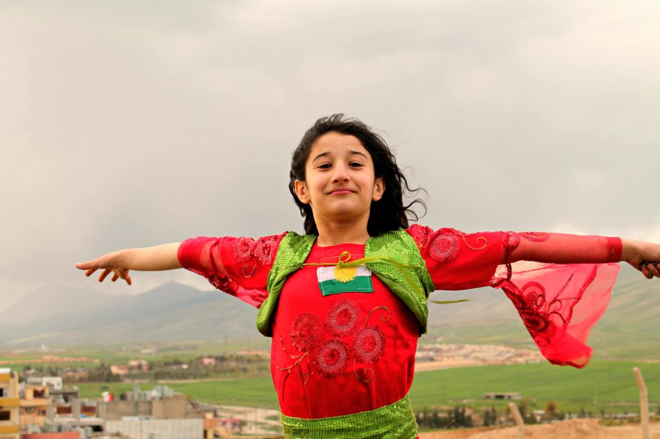 A girl in Kurdish traditional clothes, 21st of March 2015 Sulaymaniyah, by Azad Bozan