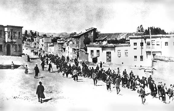 Armenians marched by Turkish soldiers in 1915