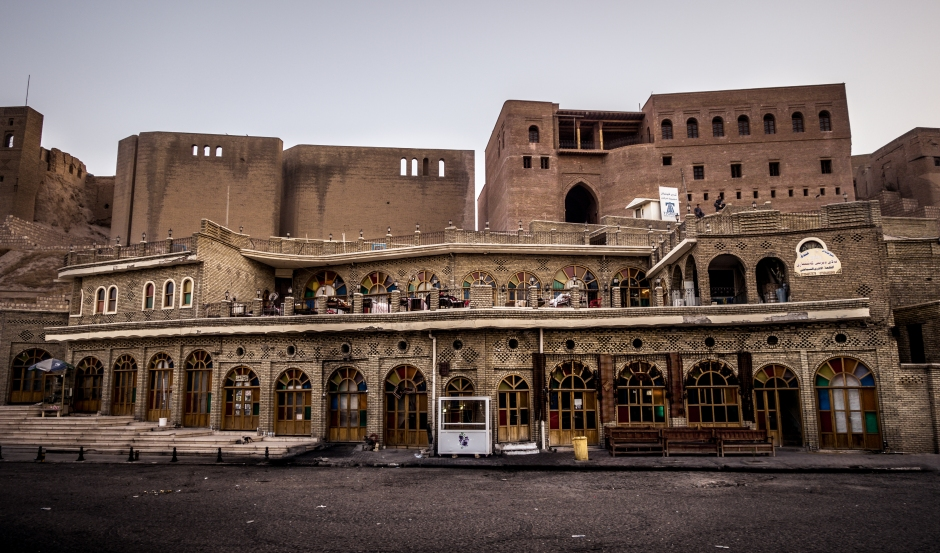 Machko Tea House in the city centre,  behind it you can see the ancient citadel of Koya, Erbil, by Rawen Pasha