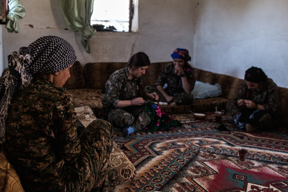 Kurdish units often occupy the villages they take back from ISIS fighters for their own accommodation. Previous inhabitants have often long since fled, taking only what they could carry.