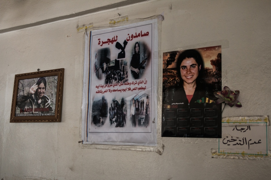 The poster of Arin Mirkan, a YPJ fighter who blew herself up to stop an ISIS advance at Kobane is now ubiquitous across Syrian Kurdistan.