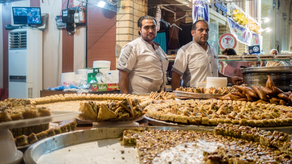 A shop selling eastern sweets such as Baklava and Kunafa