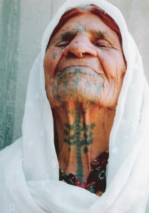 A Kurdish tattooed woman