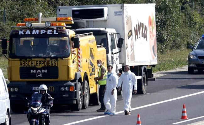 Austrian motorway maintenance workers first saw truck and noticed fluids dripping from the vehicle (Reuters)